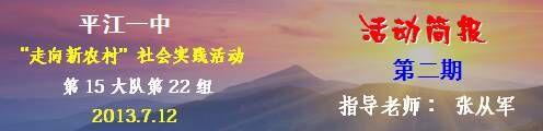 平江一中2013走向新农村社会实践活动第22组第二期简报刊头