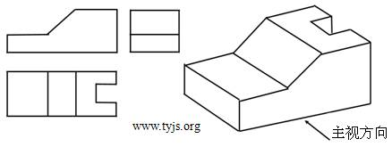某工件的立体图和三视图,主视图、左视图中线条不完整,请补画完整