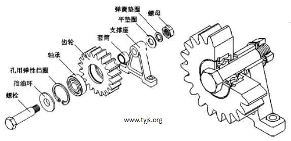 一种过桥齿轮装置的结构示意图