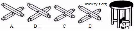 凳脚和横档均采用截面大小相同的方木料制作的小木凳